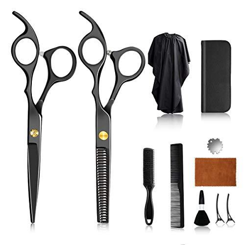 11 Piece Hair Scissors Set, Premium Sharp Hairdressing Scissors Set, Hair Cutting Scissors Hair Cutting Set, Black Hairdressing Scissors Set for Hairdresser, Salon