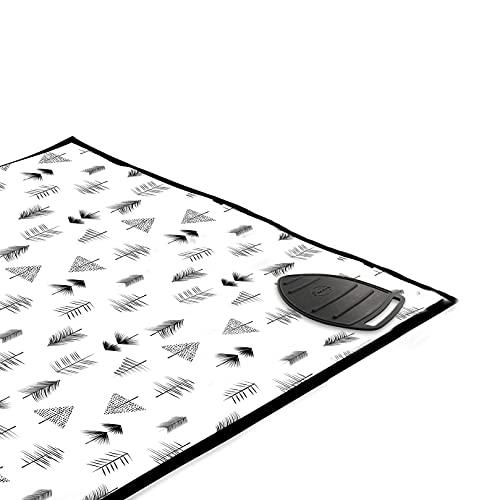 Encasa Homes Alfombrilla de Planchar (120 x 70 cm) con Acolchado de 3mm y Soporte de Plancha de Silicona para Planchar a Vapor sobre la Mesa o la Cama - Resistente al Calor, portátil - Black Arrow