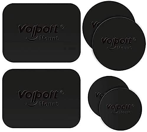 VOLPORT Mount Metal Plate, 6 Pack Metallic Plates with Adhesive Replacement for Car Magnetic Phone Mount Cradle-Less Holder Magnet Mount Phone Case Disc Sticker -2 Rectangle & 4 Round Black iPhone 12