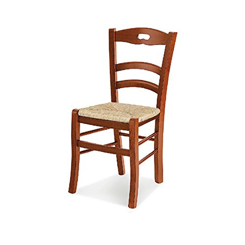 Paire de chaises, Style Classique, en Bois Massif avec Finition Noyer - Dim. 44 x 46 x 88H