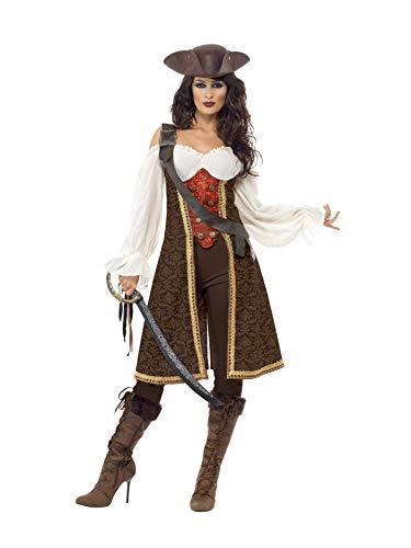 Smiffys 26225M Halloween! Smiffys Hochsee-Pirat Frauenzimmer-Kostüm, mit Kleid, Hose und Bandelier