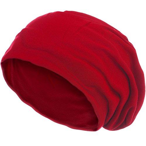 style3 Gorro Slouch Beanie de Fino Tejido de Punto Transpirable y Ligero, Gorro Unisex One Size, Color:Rojo