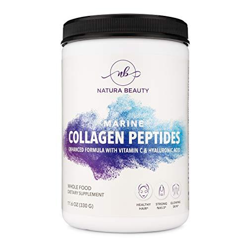 Marine Collagen Peptides | Enhanced Anti-Aging & Anti-Wrinkling Formula with Vitamin C & Hyaluronic Acid | Pescatarian & Keto Friendly, Non-GMO