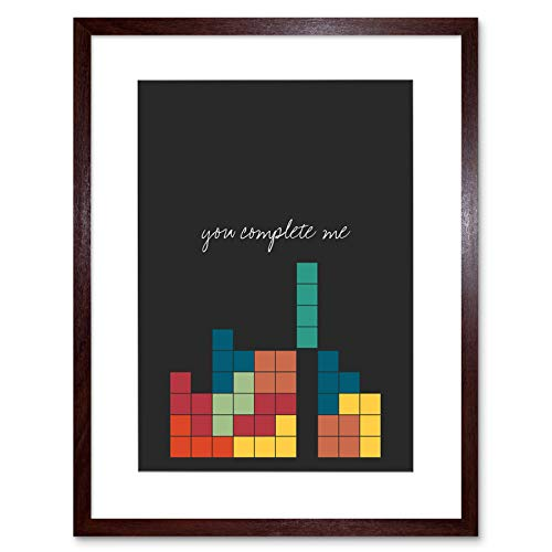 Wee Blue Coo Prints Love Quote You Complete Me Video Game Nerd Tetris 12x16'' Framed Print F12x12121
