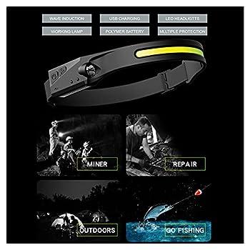 GoBeam 230° LED Headlamp?Rechargeable USB-C,Lightweight Weatherproof Headlamp for Camping Running Biking Fishing Construction Outdoor 5 Modes Motion Sensor