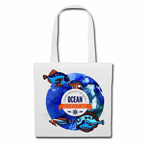 Tasche Umhängetasche Ocean Adventure Fische Aquarium MITTELMEER OSTSEE NORDSEE ANGELRUTE HOCHSEEFISCHER Fische HOCHSEEFISCHER FISCHERBOOT ANGELHACKEN ANGELSCHNUR KESCHER Einkaufstasche Schulbeutel