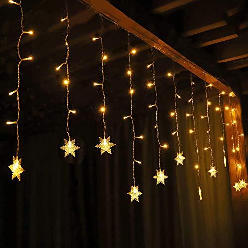 Salcar Tenda a LED a forma di fiocco di neve 108 LEDs, Tenda con Catena di Luci LED, 3m Stringa Luci Led, Catena Luminosa, 9 programmi di Luce Decorazione Impermeabilità - Bianco Caldo