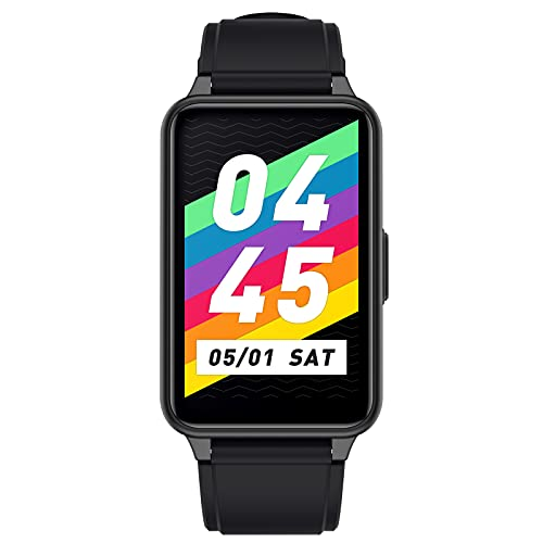 HQPCAHL Smartwatch 1.57' Reloj Inteligente IP68 con Pulsómetro/Temperatura Corporal,Monitor De Sueño,Monitores De Actividad Calorías/Podómetro/Cronómetros,Control De Musica,para Android iOS,Negro