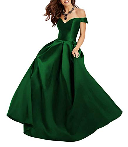 Clothfun Off Shoulder Prom Dresses Long 2020 Formal Dresses for Women Evening Gowns Satin A-Line with Pockets Green 16 Plus Size