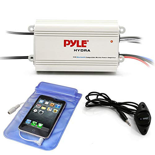 Pyle Auto 4-Channel Marine Amplifier - 200 Watt RMS 4 OHM Full Range Stereo with Wireless Bluetooth & Powerful Prime Speaker - High Crossover HD Music Audio Multi Channel System PLMRMB4CW