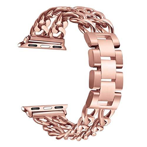 Banda de acero inoxidable para Apple Watch Series 6 5 4 3 2 1 Banda 38 mm 42 mm 40 mm 44 mm Correa pulsera Banda de metal-oro rosa, 38 mm y 40 mm