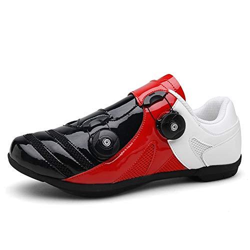 GET Zapatillas de Ciclismo SPD Profesionales para Adultos Unisex, Zapatillas de Bicicleta de Carretera Resistentes Al Desgaste Sin Bloqueo con Tacos EU 39-48 (Color : A, Talla : UK-11/EU46/US-12)