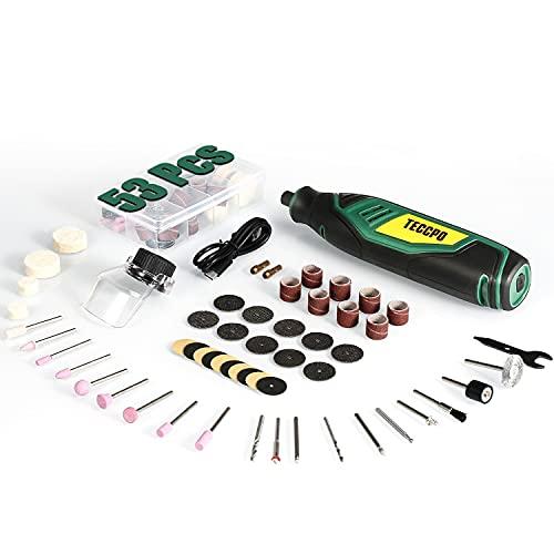 TecCPO - Herramienta rotativa multifunción inalámbrica (tipo C), 4 V 2.0 Ah, batería 5000-25000rpm, 5 velocidades R e regulables, 53 accesorios para grabar, D, cortar, taladrar, pulir y limpiar.