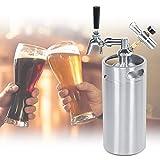 Pressurized Beer Keg, 3.6L Stainless Steel Adjustable Tap Beer Spear Barrel Keg 2 Class Pressure Gauge Beer Brewing Equipment Mini Dispenser Kegerator Ki