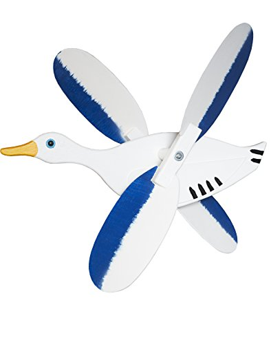Windrad / Windspiel Ente aus Holz Blau Weiss