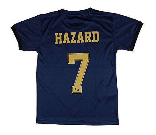 Real Madrid Camiseta Segunda Equipación Talla Adulto Hazard Producto Oficial Licenciado Temporada 2019-2020 Color Blanco (Azul Marino, Talla M)