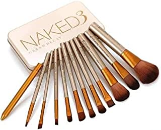BTN Professional Naked plus face makeup brush 12 pcs set different type with safety box (Set of 12)