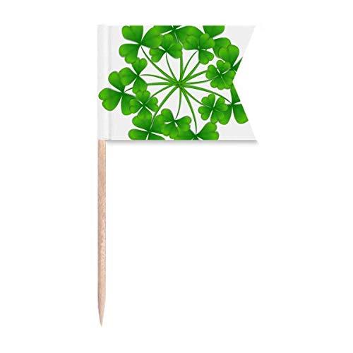 Cuatro hojas de trébol círculo de Irlanda del día de San Patricio, banderas de etiquetado para fiesta pastel comida queso