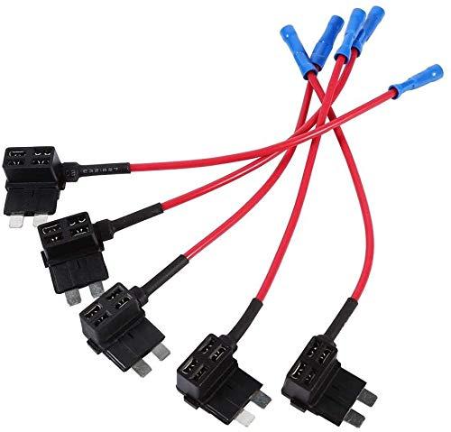 ZHITING 5 fusibles de 12 V, mini portafusibles para coche, fusibles de alto rendimiento, adaptador de fusibles