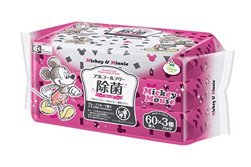 ディズニー アルコールフリー 除菌ウェットシート 60枚×3個 (ミッキー&ミニー) 日本製 グレープフルーツ種子エキス配合