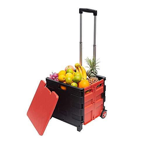 WXDP Autopropulsado Carro 45L / 65L, Carrito de Compras multifunción portátil, supermercado para Ancianos, Carrito de Compras, Caja de Almacenamiento Plegable para el Hog