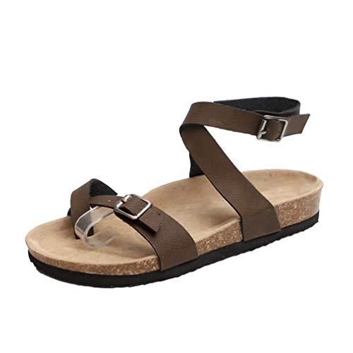 Baijiaye Sandalias Mujer Plataforma Tacones Altos Sandalias Correa de Tobillo Sandalias de Paja Elegant Comfort Sandalias de Verano Peep Toe Sandalias