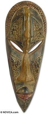 Amazon.com: Novica decorativo grande ghanaian madera máscara ...