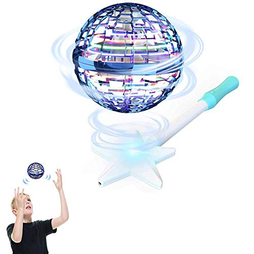 Qiamay Flynova Pro Flying Spinner Bumerang Spinner Flying Toy Inductive Motion Flugzeuge Upgrade Flight Gyro Toy Geeignet Spinner with Endless Tricks Hand Operated Drones MIT 3 Farbiges Licht (Blau)