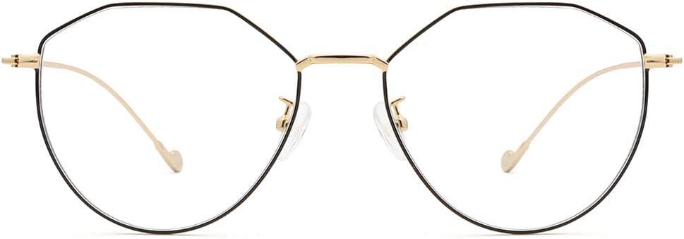Cyxus Vintage Blue Light Blocking Eyeglasses Computer Eyewear Anti Eyestrain Irregular Frame Black Gold 8009