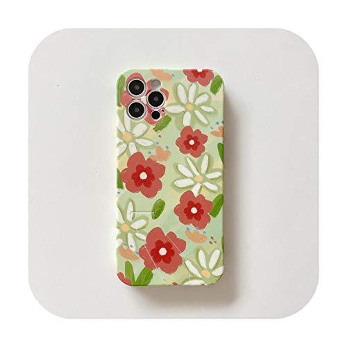 Funda de teléfono para iPhone 11 Pro 12 7 XS MAX SE20 X XR 8Plus con soporte floral suave mate estilo coque 1 para iPhone XS MAX