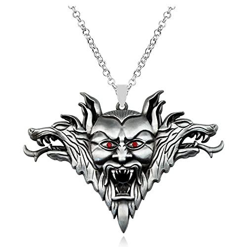 Aleación creativa cara de ojo rojo doble cabeza de lobo collar personalizado Street Shooting Accesorios de Halloween Collar de tendencia colgante joyería regalos para amigos