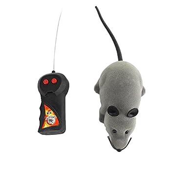 Yosoo Mini Jouet Souris RC Rat 2-Voies 27MHz pour Chat Chaton Animaux et Enfants 3 Ans Gris avec Télécommande à Distance