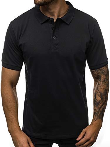 OZONEE Herren Poloshirt Polo Shirt Polohemd T-Shirt Tee Kragen Klassisches Hemd Casual Kurzarm Baumwolle Freizeithemd Kurzarmshirt Herrenhemd Breezy 171221 SCHWARZ L