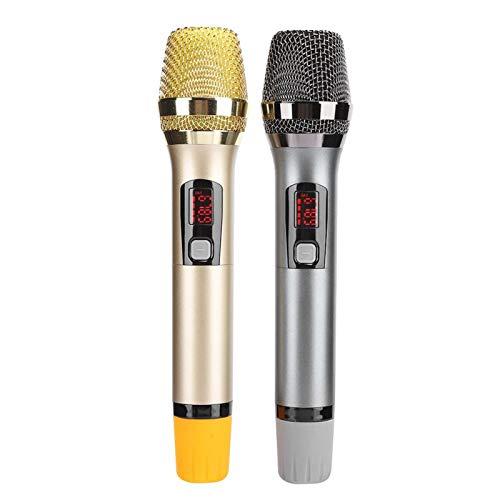 FOLOSAFENAR Micrófono inalámbrico Mic inalámbrico de Mano con Funda de fijación de micrófono, para Karaoke, para Hablar en público