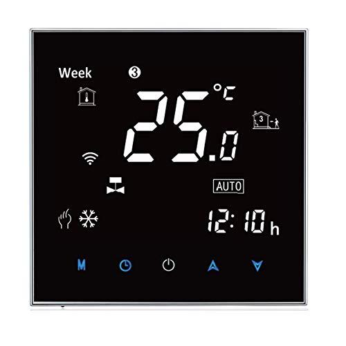 Qiumi Termostato WiFi per riscaldamento di caldaie a gas/acqua funziona con Alexa Google Home Nero pannello, Bianco Caratteri(Luminosità regolabile) Dry Contact 5A 95~240V AC