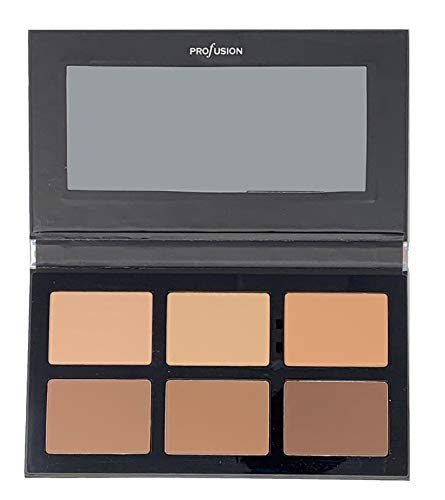 Profusion Cosmetics - Pro Contour Palette - Professional 3 Bronze & 3 Matte Highlight Colors With Full Length Mirror