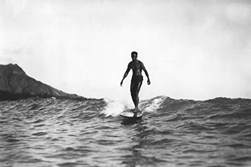 Surfing in Honolulu Hawaii Longboard Surfer Vintage Foto (30,5 x 45,7 cm) Kunstdruck, Wanddekoration, Reise-Poster