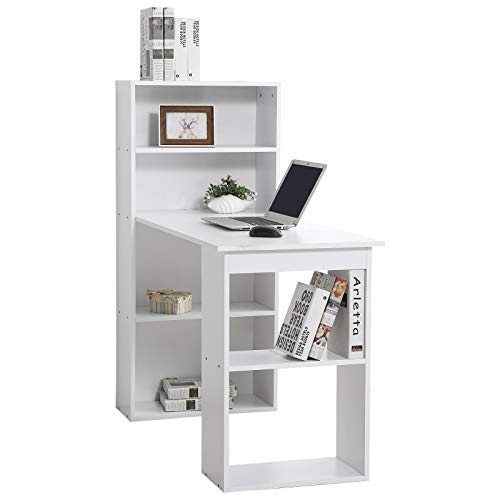 """HomCom 47"""" Modern Office Compact Computer Crafting Hobby Desk Bookcase- White"""