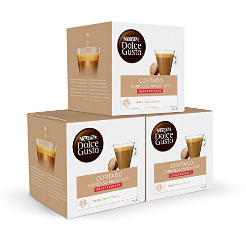 Nescafé DOLCE GUSTO Café CORTADO DESCAFEINADO, Pack de 3 x 16 Cápsulas - Total: 48 Cápsulas