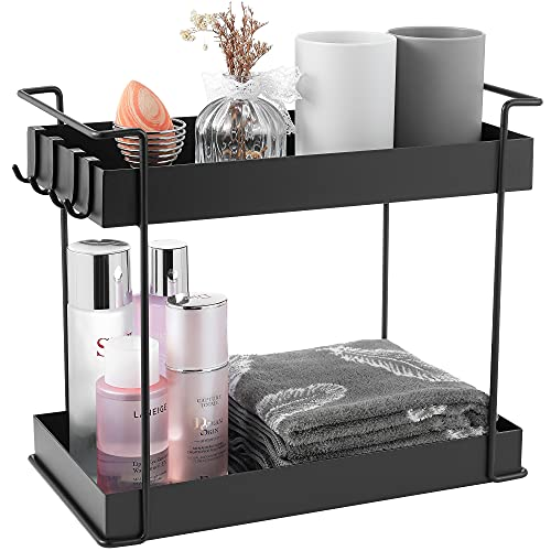 YURONG 2 -Tier Kitchen Spice Rack, Cosmetic and Makeup Storage Counter Organizer, Bathroom Countertop Standing Shelf, Vanity Tray, Serving Tray, Black