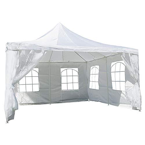 Nexos Hochwertiges Festzelt Partyzelt Pavillon 4 x 4 m weiß mit Seitenteilen für Garten Terrasse Feier Markt als Unterstand Plane wasserdicht PE Dach 250 g/m² beschichtete...