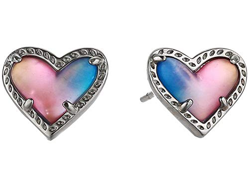 Kendra Scott Ari Heart Stud Earrings Rhodium Watercolor Illusion One Size