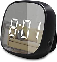 GLOUE Travel Alarm Clock Small Bedside Digital Alarm Clock Dimmable Magnetic Kitchen LED Alarm Clocks with Sound Control, Simple Operation, Battery Backup Clock for Kids Bedroom Office