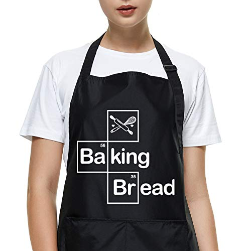 Funny Apron for Women Men, Baking Bread Baking Apron, Adjustable Waterproof Black Aprons with 2 Pockets, Kitchen Cooking Chef Apron Gift, Gifts for Birthday Mother's Day Father's Day Christmas