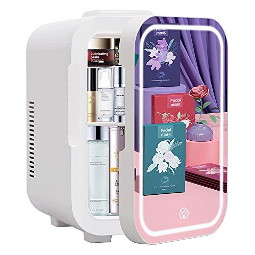 Mini refrigerador de puerta de espejo de 8 L, refrigerador portátil de belleza, refrigerador de cuidado de la piel AC/DC, temperatura constante, LED regulable gradual, adecuado...