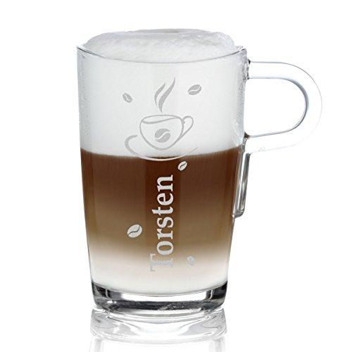 polar-effekt Leonardo Kaffeebecher mit Henkel Personalisiert mit Gravur - Latte-Macchiato Glas 365ml - Kaffee-Glas Geschenk-Idee zum Geburtstag - Motiv Kaffee-Tasse