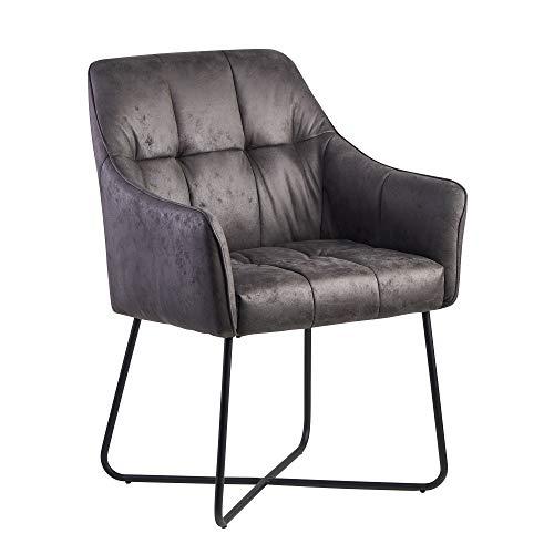 FineBuy Esszimmerstuhl Wildlederoptik Grau Küchenstuhl mit Schwarzen Beinen | Schalenstuhl Stoff/Metall | Design Polsterstuhl |Stuhl Esszimmer Gepolstert