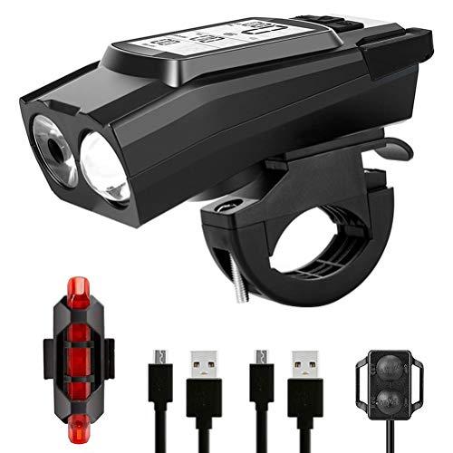 xiaowang - Luz de bicicleta inalámbrica 3 en 1, faro de bicicleta con lente LED, linterna de bicicleta recargable USB superluminosa, apta para todos los bicicletas