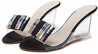 Calzado AJUNR Transpirable/Sandalias Transpirable/Sandalias En Verano Zapatos 11cm cuñas Impermeable a Taiwán Bohemia Diamante de Paja Zapatos Senderismo