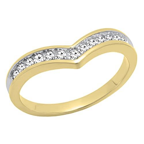 Dazzlingrock Collection Anillo de 0,25 quilates de diamantes blancos redondos apilables para aniversario de 1/4 quilates, oro amarillo de 14 quilates, talla 10